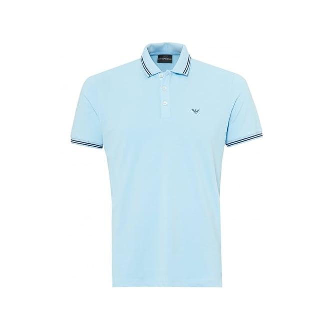 271c5c66 Emporio Armani Light Blue Stretch Short Sleeve Polo T-Shirt 8N1F2B 1JPTZ