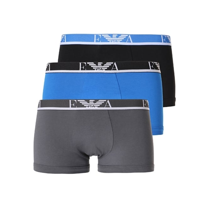 EA7 Emporio Armani Emporio Armani Three Pack Boxer Shorts Blue, Navy, Grey 111473 8P715