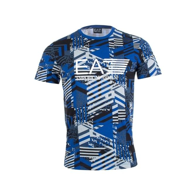e2b929b8e9 EA7 Emporio Armani Emporio Armani EA7 Logo Graphic Print T-Shirt Blue  3ZPT66 PJL8Z