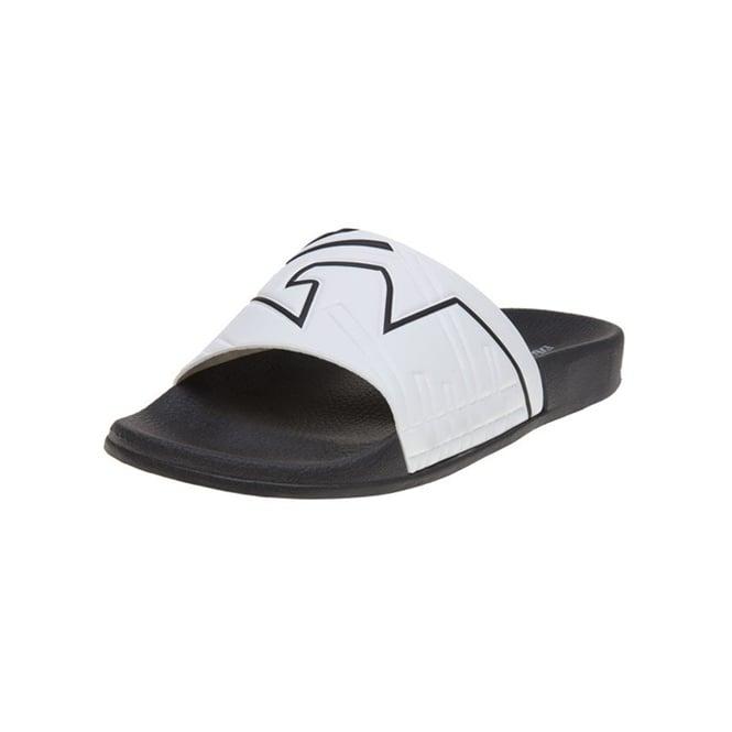 75db6f447ea031 EA7 Emporio Armani EA7 Emporio Armani White Black Slides Slippers ...