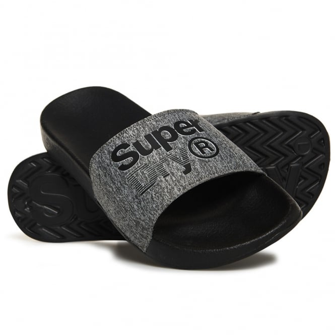 c0c5e6413dd6 Superdry Superdry Lineman Black Grey Grit Pool Slide Sandals AE2 ...