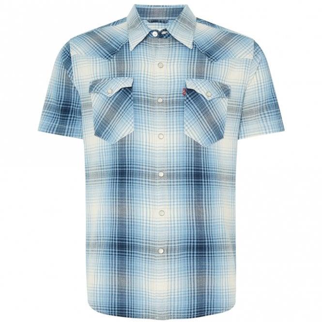 1fde324e414 Levi s Levi s Barstow Western Short Sleeve Blue Check Shirt 65817 ...