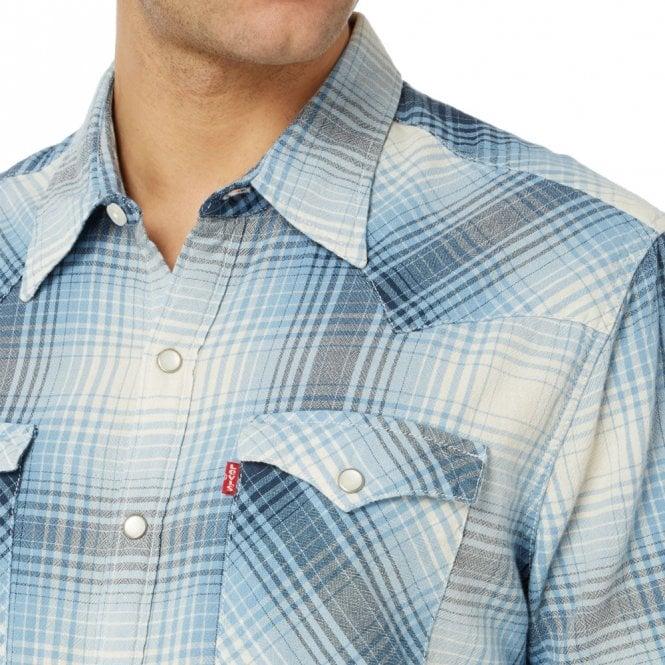 ff58acf4fc Levi s Levi s Barstow Western Short Sleeve Blue Check Shirt 65817 ...