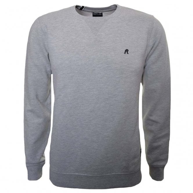 Replay Replay Chest Logo Plain Crew Neck Sweatshirt Grey M3436B ... 63840f56547c