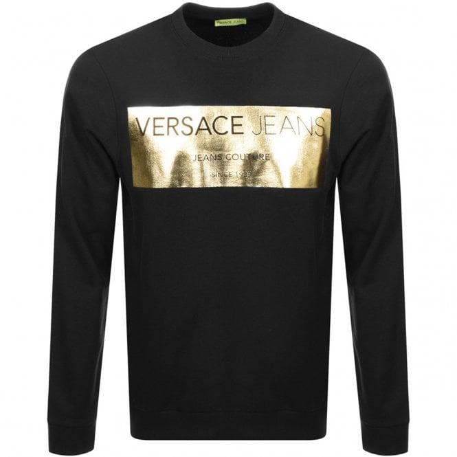 1b04873c Versace Jeans Versace Jeans Gold Foil Black Crew Neck Sweat B7GSB7F7 ...