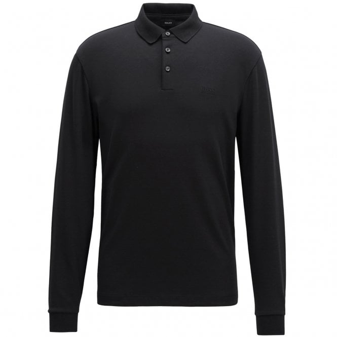 e652305f4 Boss Green Hugo Boss Pado 11 Plain Long Sleeved Jersey Polo Black ...