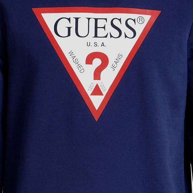4960803ee Guess Guess Logo Crew Neck Sweatshirt Navy Blue M84Q08K7ON0 - Guess ...