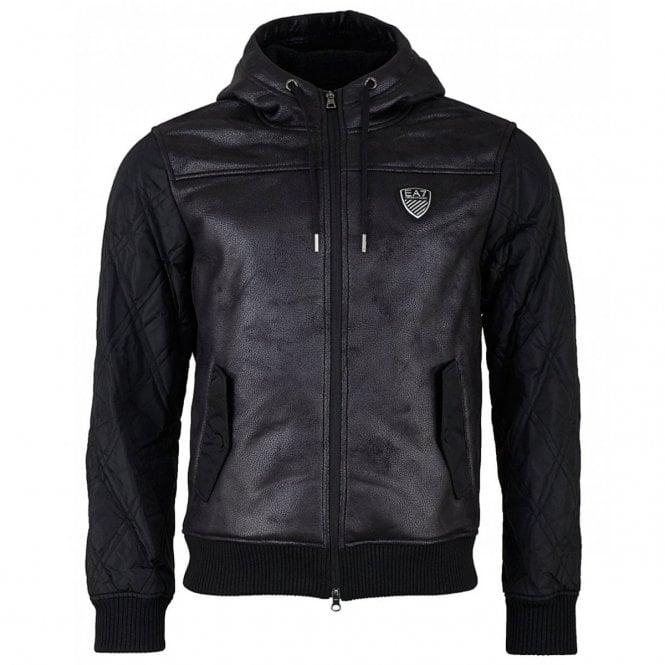 29c5b33821d0 EA7 Emporio Armani Faux Leather Mix Hooded Bomber Jacket Black 6ZPBA5 PN54Z