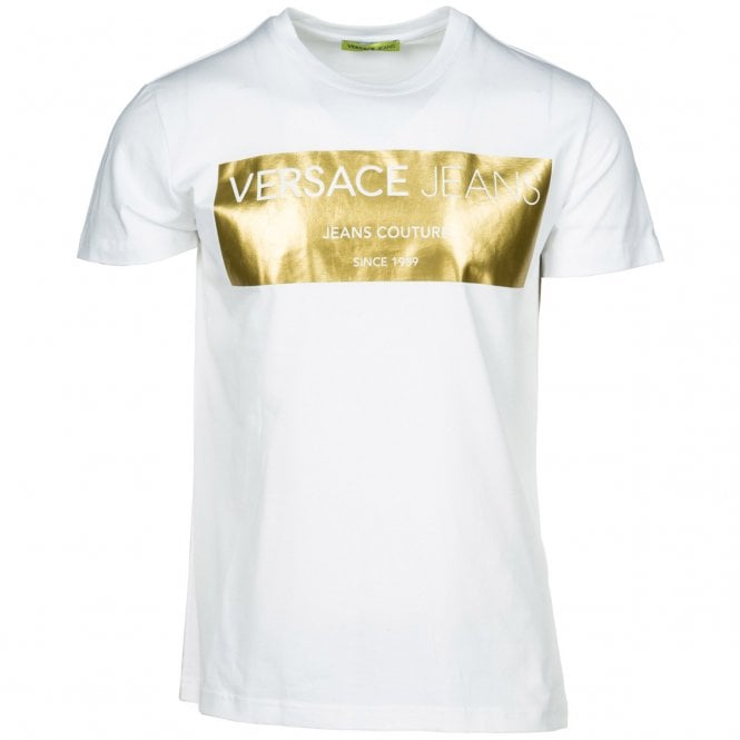 Versace Jeans Versace Jeans Gold Foil White Crew Neck T Shirt B3gsb76v