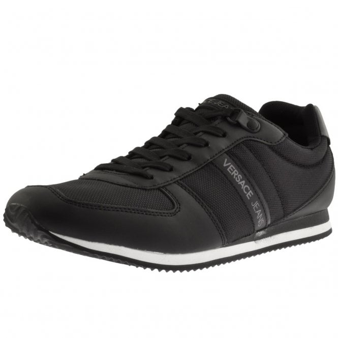 0b3dadc26fb5b3 Versace Jeans Versace Jeans Black Leather Suede Mix Running Trainers ...