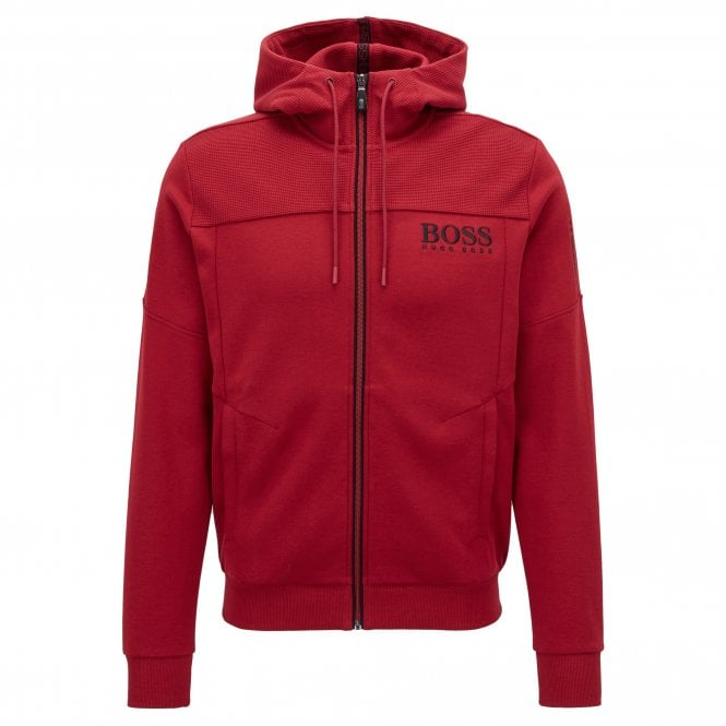 61b1f015eb254 Boss Green Boss Saggy Dark Red 605 Zip Up Hoody Sweatshirt Jacket ...