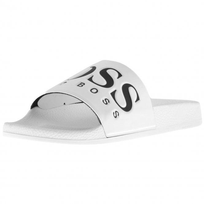 e03ce84456e9 Boss Green Hugo Boss Solar Slides Slippers White 100 50388496 - Boss ...