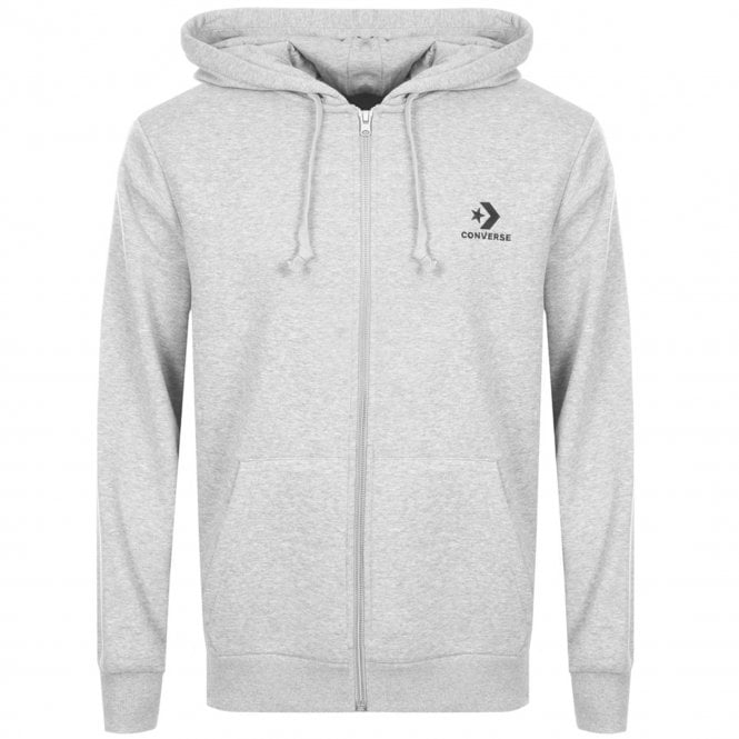 2bc43f9585c7 Converse Converse Star Chevron Print Logo Grey Zip-Up Hoody 10007881 ...