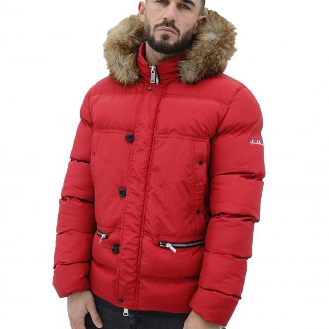16ad7c9e8 4bidden 4Bidden Precision Red Quilted Hooded Puffer Jacket - 4bidden ...