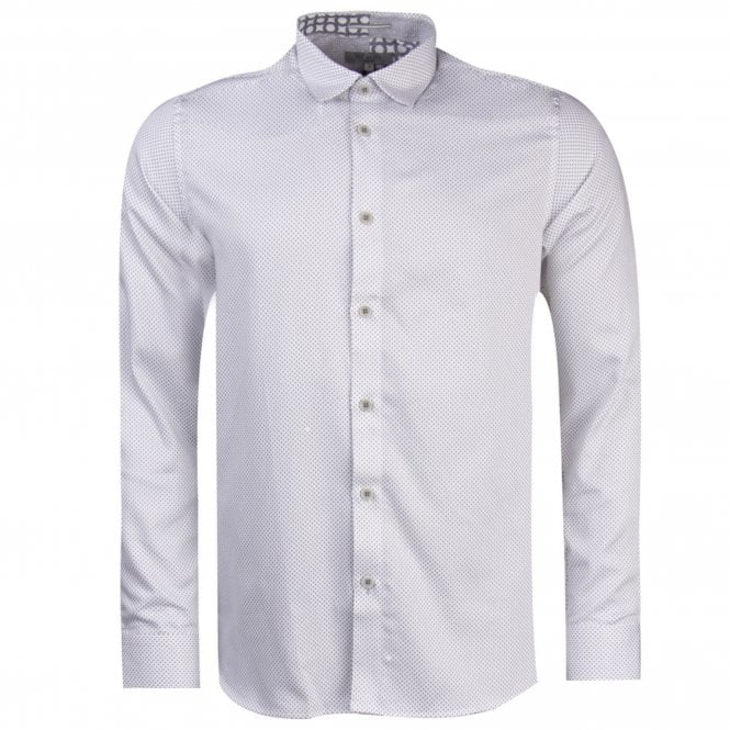 c4ecc05331bf Ted Baker Ted Baker Boomtwn L S Micro Geo Printed Shirt White - Ted ...