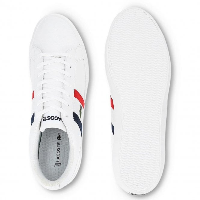 aff19fb6f22a Lacoste Footwear Lacoste Lerond 119 White Red Navy Leather Trainers ...