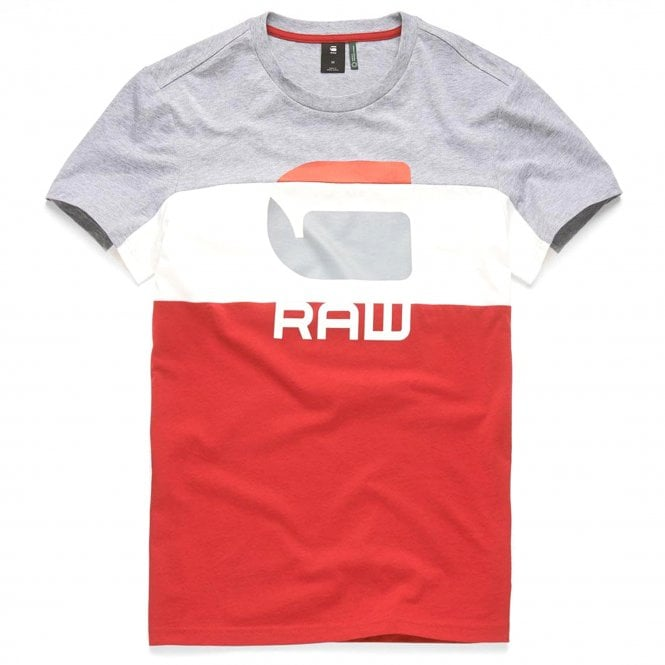 66adcad2c7fc G-Star G-Star Graphic 41 Logo T-Shirt Grey/White/Red - G-Star from ...