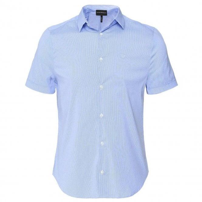 1a0d5fe6 Emporio Armani S/S Poplin Checked Slim Fit Shirt Light Blue 8N1C10 1N06Z