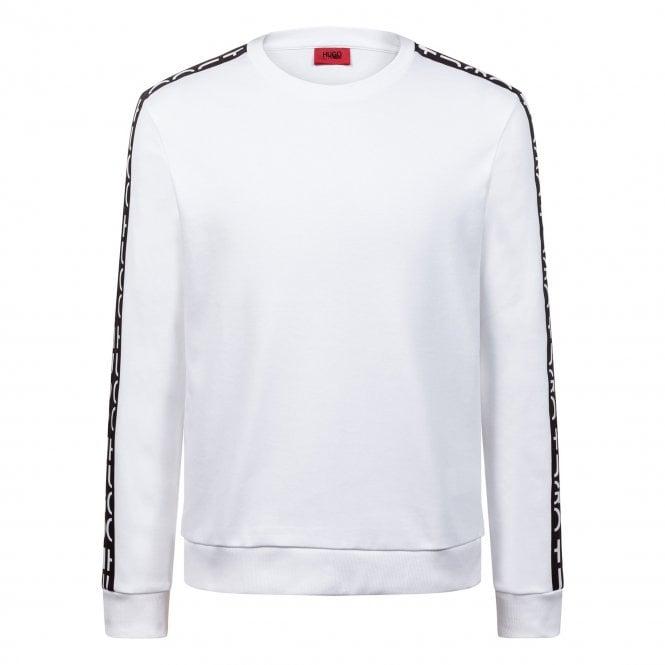 20ebe628 Hugo Boss HUGO Boss Doby White Crew Neck Logo Tape Sweatshirt ...