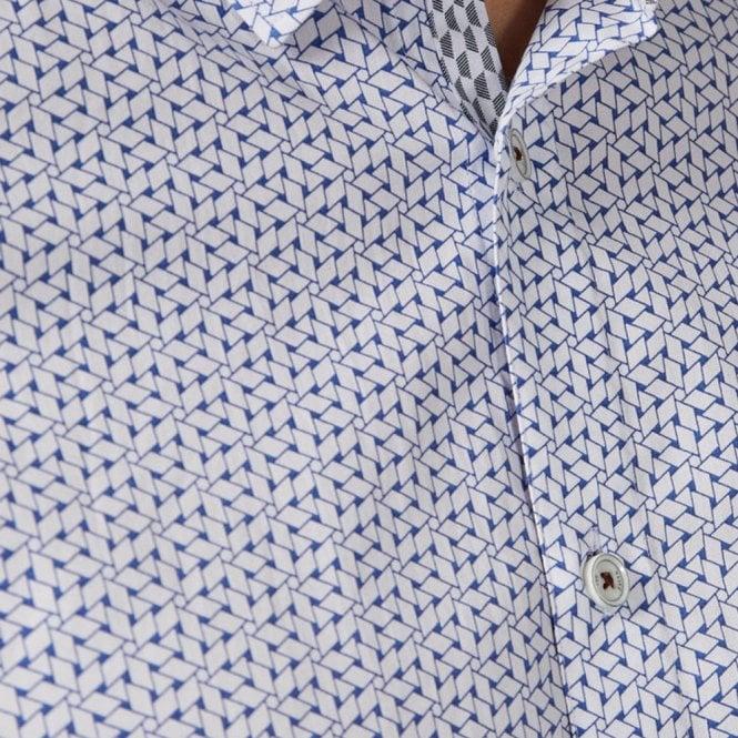 6a2eb8bd8 Ted Baker Ted Baker Rakoon SS Rectangle Geo Print Shirt White Blue ...