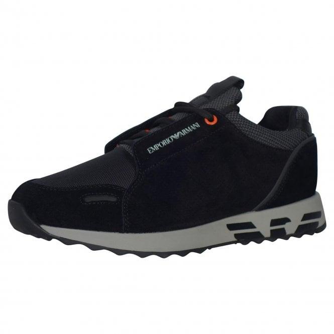 purchase cheap 09fe3 def79 Emporio Armani Emporio Armani Black Suede/Nylon Mix Running Trainers X4X241  XL690