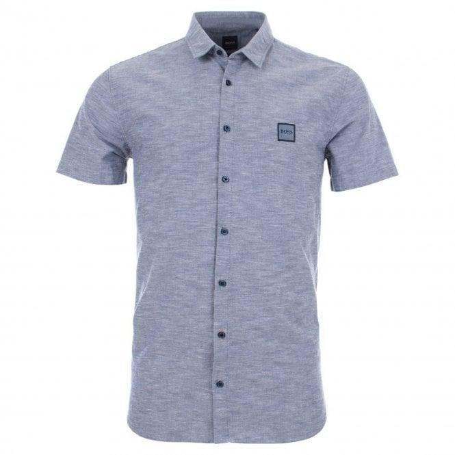 5d8887b77 Boss Orange Hugo Boss Magneton 1 Short Sleeve Oxford Shirt Blue 404 ...