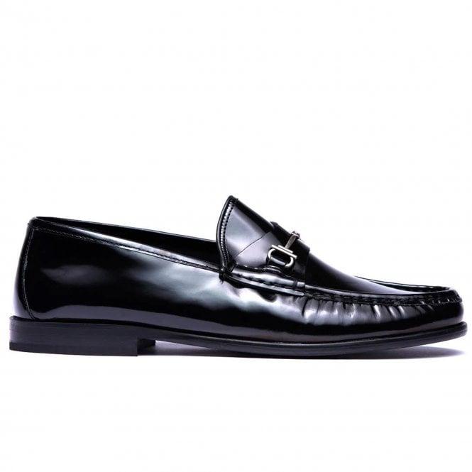 shining black loafer shoes