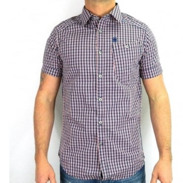 RCT BTD Western Shirt S/S Flame Red Blue Check 83916A.4786.610