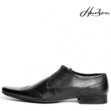 Ellington Black Pointed Brogue Style Shoe Soft Leather