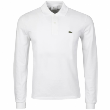 Lacoste L1312 Original Plain Long Sleeve Polo White