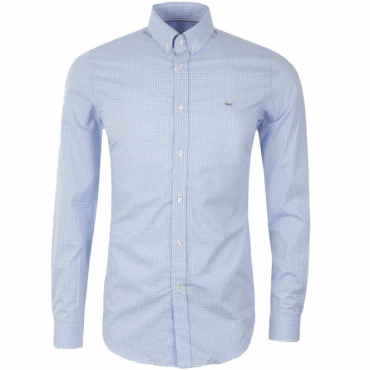 Lacoste Gingham Check Shirt Long Sleeve Blue CH0222 W05