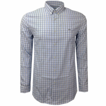 Lacoste Check Shirt Long Sleeve White Blue CH9847 VLJ