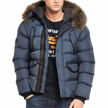 Superdry Chinook Parka Puffer Jacket Navy Blue 11S