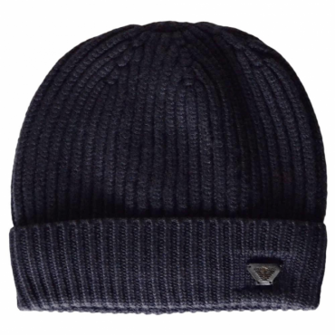 Armani Jeans Navy Turn Up Ribbed Beanie Hat 934029 7A757