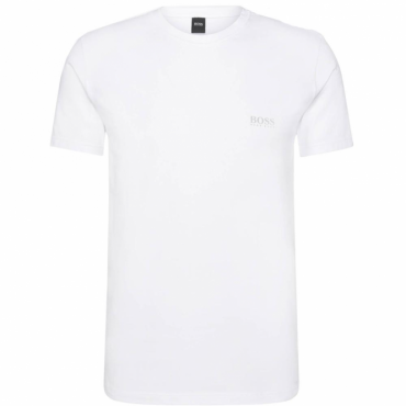 Hugo Boss Logo White Fitted Stretch T-Shirt