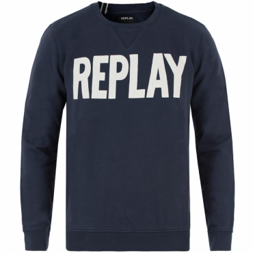 Replay Logo Crew Neck Sweatshirt Navy M3290 21842