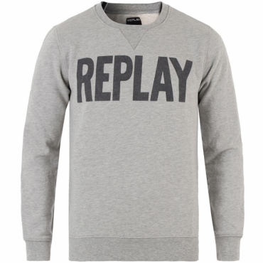 Replay Logo Crew Neck Sweatshirt Grey M3290 21842