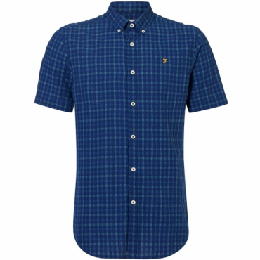 Farah Cosford Check Shirt Short Sleeve Deep Blue F4WS60E7