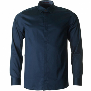Ted Baker Henree L/Sleeve Plain Satin Stretch Shirt Navy