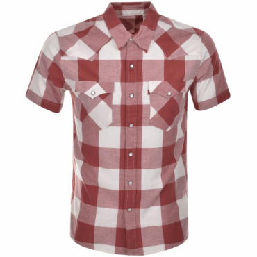 Levi's Barstow Western Short Sleeve Dark Red Check Shirt 21978-0030