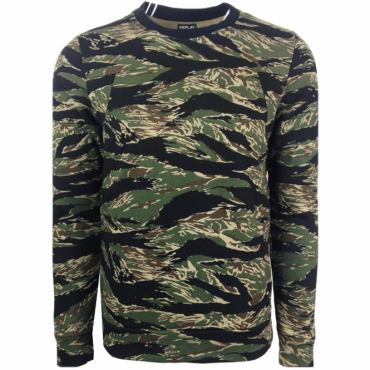 Replay Camo Crew Neck Sweatshirt Khaki M3298A 71280