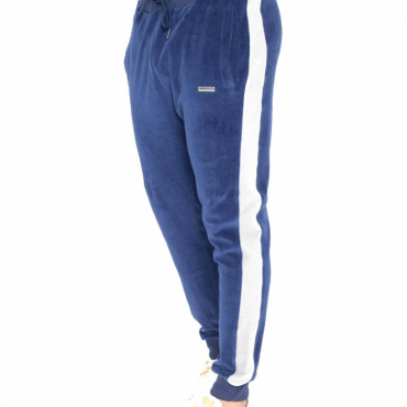 Foray Rise Blue Velour Jogging Bottoms