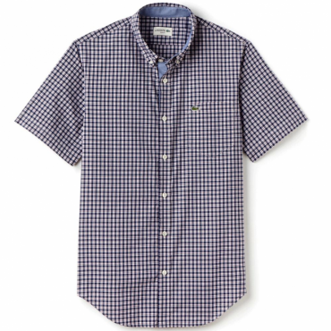 Lacoste CH3951 Check Shirt Short Sleeve Navy Red GPK