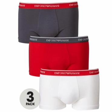 Emporio Armani Three Pack Boxer Shorts Red, White, Grey 111473 7P717