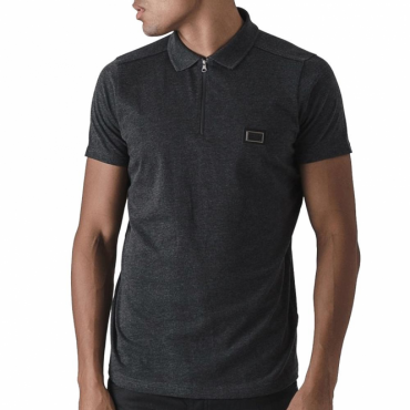 Born Rich Mata Plain Dark Grey Zip Polo T-Shirt