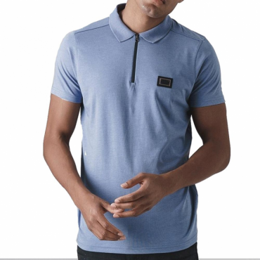 Born Rich Mata Plain Ice Blue Zip Polo T-Shirt