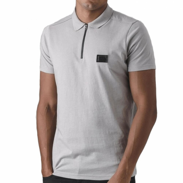 Born Rich Mata Plain Grey Zip Polo T-Shirt