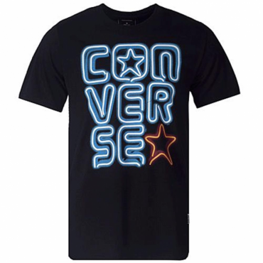 Converse Neon Woodmark Stacked T-Shirt Black 10003450