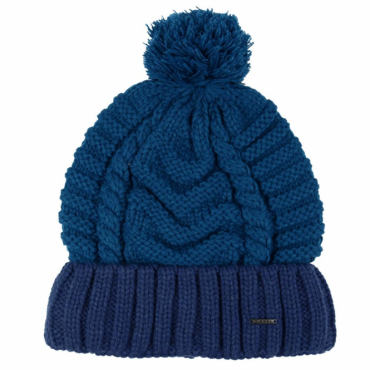 Diesel K-Teen Blue Bobble Beanie Hat With Turn-Up