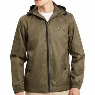 Lyle & Scott Olive Green Marl Zip Up Hooded Jacket JK512V